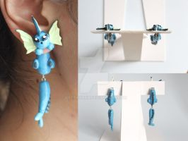 Vaporeon Pokemon Earrings by ArtzieRush