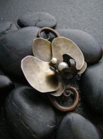 Metal Orchid Pin brooch by AbandonedMemory