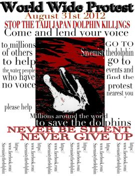 Poster/flier for the protest of the Dolphins.. by ladyjart