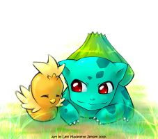 PM - Bulbasaur and Torchic by KatiraMoon