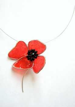 poppy pendant by neko-crafts