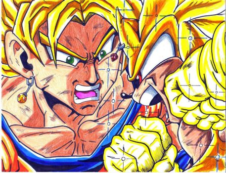 ssj goku vs super sonic colord by trunks24