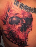 freehand skull tattoo 1 hour by hatefulss
