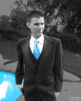 Steve Solo Pose for Prom, Blue Isolated by EvlD