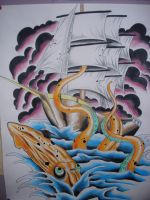 pirate ship w squid painting by charlesbronson777