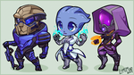 Mass Effect chibis by lumi-mae