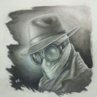 CHARCOAL Invisible man drawing by mikendazzo