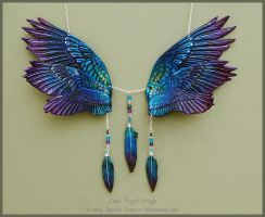 Dusk Angel Wings - Leather Necklace by windfalcon