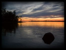 Sunset With Tree and Stone by AmirNasher