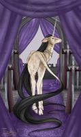 Tarot Unicornis - The Queen of Swords by The13thBlackCat