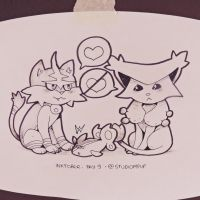 Inktober #9: Torracat, Finneon and Delcatty