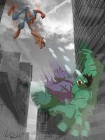 Spidey vs Hulk by KIRKparrish