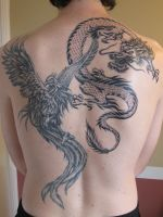Dragon and Phoenix tattoo by MrSultan531