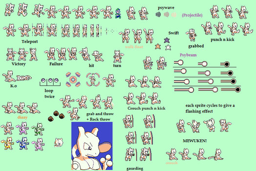Gameboy Mewtwo Fighter Sheet. by LukeTheeMewtwo