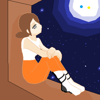 Chell missing Wheatley by Glissel