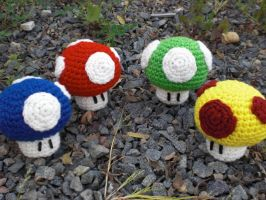 Mario Power-Up Mushrooms by Ami-Amour