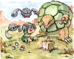 Toph, Geodudes and Golem by CaityHallArt
