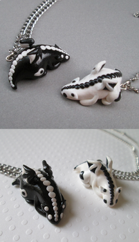 Yin and Yang Dragon Necklaces by SneakyCinnamon