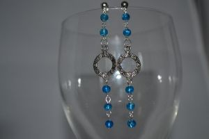 Extra Long Charm Earrings Blue Glass Stargate by lunnybunny1