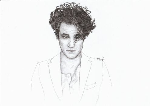 Darren Criss ink drawing by happygonion