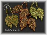 Spiral forest leaves earrings by Shatiel85
