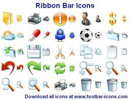 Ribbon Bar Icon Set by shockvideoee