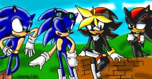 Sonic and Shadow with Sons by WaterJewelEmi