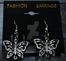 Silver Butterfly Earrings by Lassietay