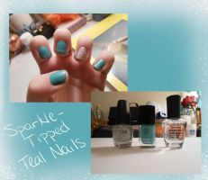 Sparkle-Tipped Teal Nails by BlueEyesNeko
