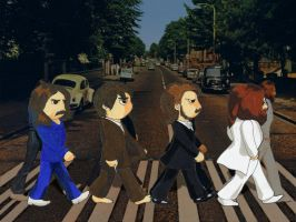 Chibi Beatles on the Road by Shirozora