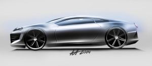 Concept car side view sketching by koleos33