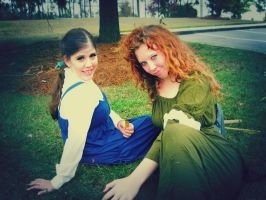 Belle and Merida by Secoramoondragon