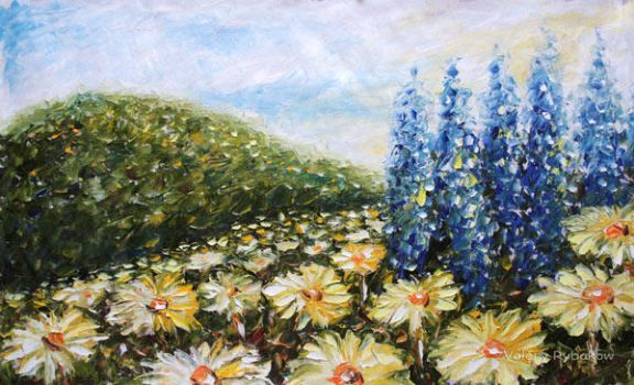 painting Landscape flowers BUY by rybakow