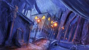 Rainy Street by JNetRocks