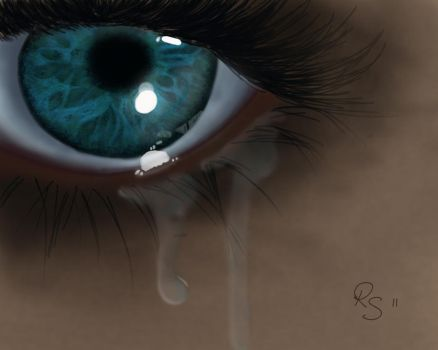 Eye with tears by remelis