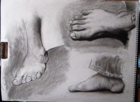 3 feet study charcoal by HeribertoMartinez