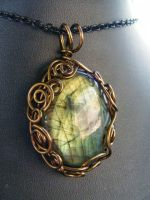 labradorite in bronze swirls by BacktoEarthCreations