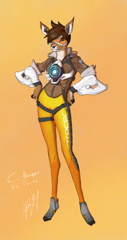 Overwatch Animal Collaboration- Tracer by CleverAsFoxes