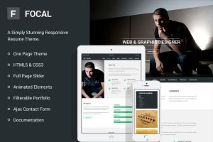 Focal Responsive Resume Theme by bestpsdfreebies
