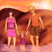 Walk on the Beach -- NaruHina by IcyPanther1