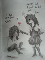 Jeff and Jane :3 by AsariTheKiller