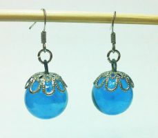 Blue glass marble earrings by mosquitone