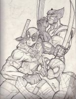 the 3 Amigos - Deadpool - Spiderman - Wolverine by MikeVanOrden