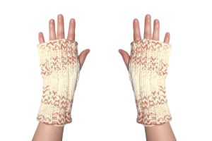 Peaches and Cream Fingerless Mittens by TheSleepyRabbit