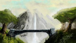 Bridge With Waterfall by FireandIce13