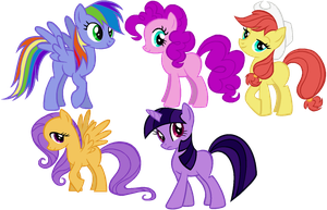 The main ponies in MAD colors by Nutty-Nutzis