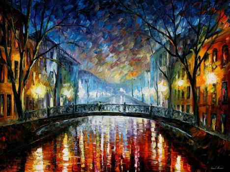 Misty Bridge St. Petersburg by Leonid Afremov by Leonidafremov