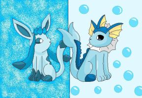 Glaceon and Vaporeon by SkyBlueArts