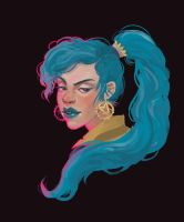 Blue haired lady by ulmuri