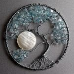 Silver and Light Blue Tree of Life pendant by craftymama